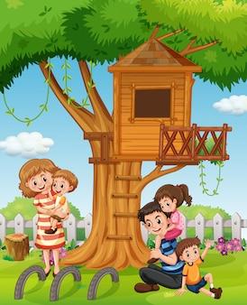Une famille au jardin de la maison
