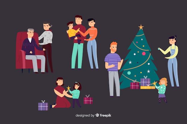 Famille au moment de noël