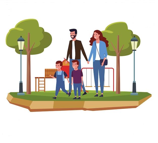 Famille au parc