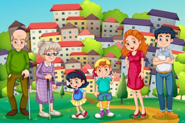 Une famille au sommet d'une colline à travers le quartier