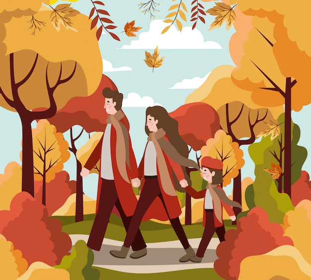 Famille, automne, fond