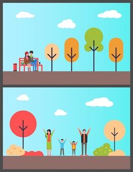 Famille en automne park, couple pigistes sur banc