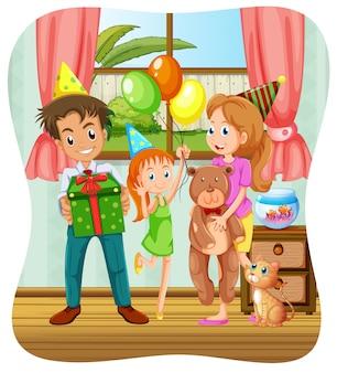 Famille ayant une fête d'anniversaire