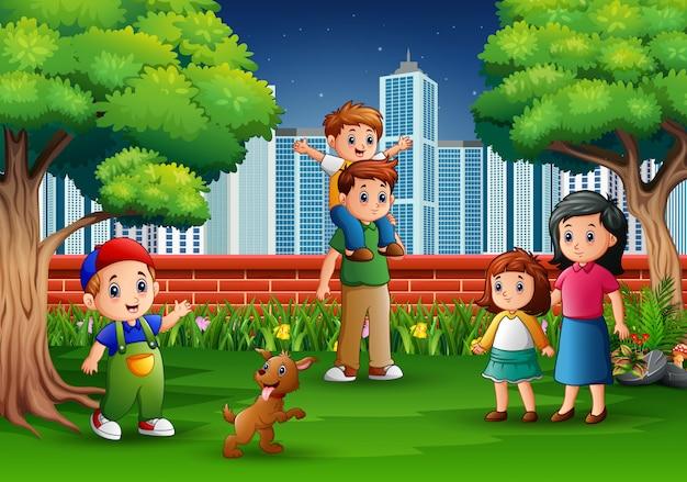 Famille de bande dessinée s'amuser dans le parc de la ville