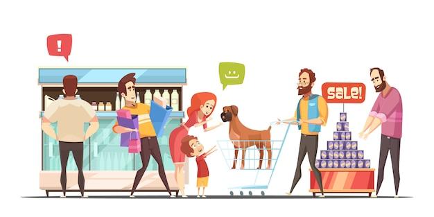 Famille, bannière, supermarché