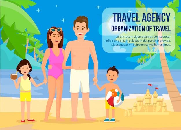 Famille sur la bannière de vacances d'été avec lettrage.