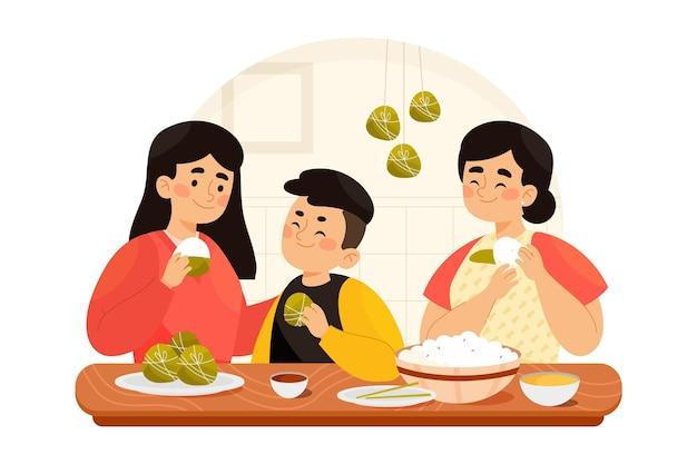 Famille de bateau dragon aquarelle peinte à la main préparant et mangeant une illustration de zongzi
