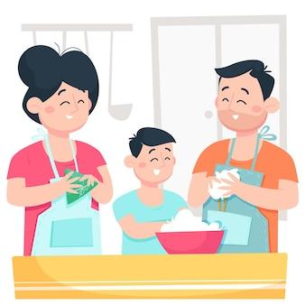 Famille de bateau-dragon de dessin animé préparant et mangeant l'illustration de zongzi