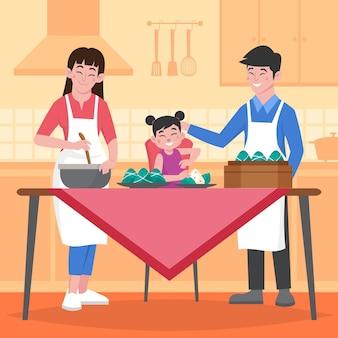 Famille de bateau dragon plat biologique préparant et mangeant une illustration de zongzi