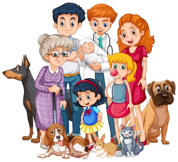 Famille avec bébé nouveau-né et de nombreux animaux de compagnie