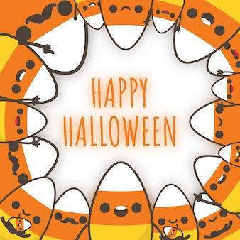 Famille de bonbons au maïs d'halloween décorer un cadre.