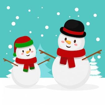 Famille bonhomme de neige de noël