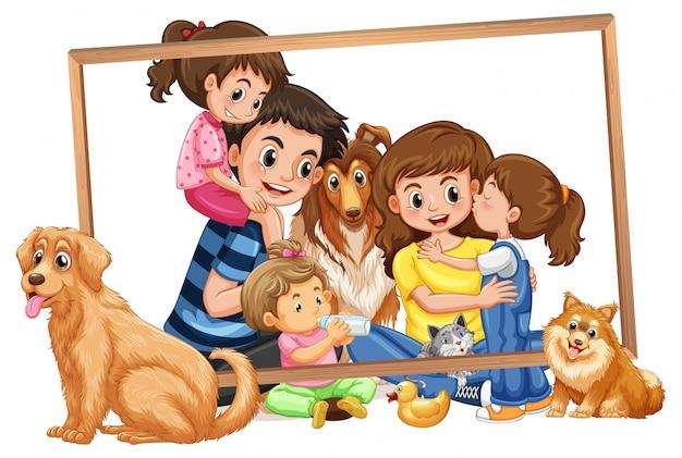 Famille sur cadre en bois