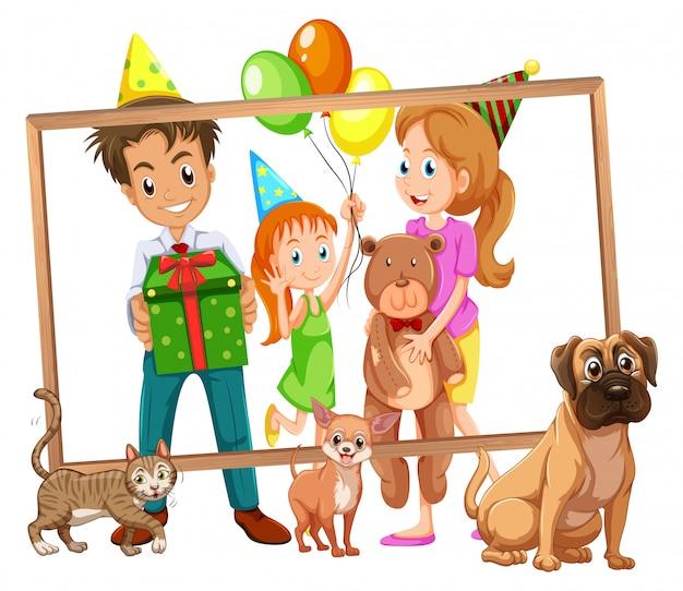 Famille sur cadre photo