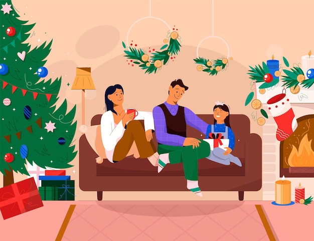 Famille célébrant le nouvel an à la maison