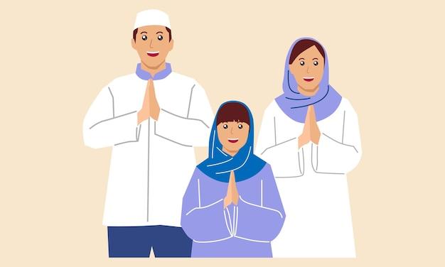 La famille célèbre l'aïd al adha eid mubarak ensemble