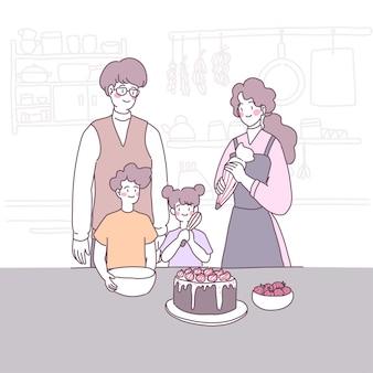 La famille a célébré un anniversaire avec un gâteau.