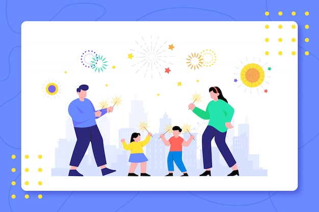 Famille célébrer le nouvel an feu d'artifice ensemble design illustration