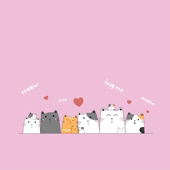 Famille de chat mignon dessinés à la main