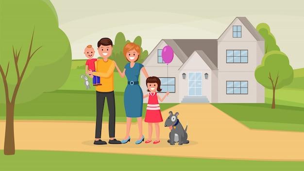 Famille avec chien près de la maison