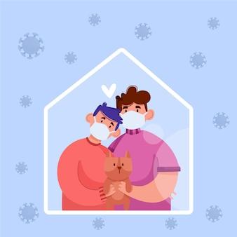 Famille avec chien protégé contre le virus