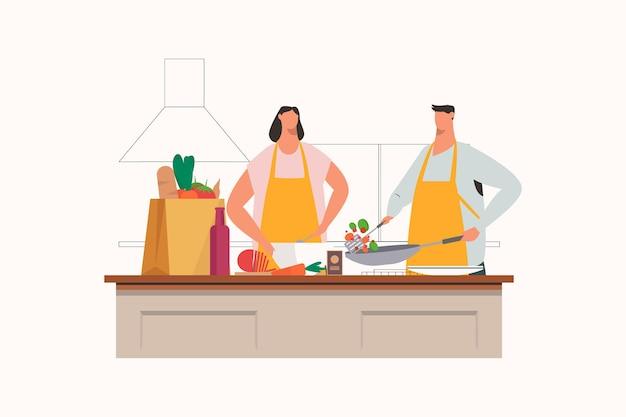 Famille cuisinant ensemble dans la cuisine illustration de mari et femme de famille heureuse