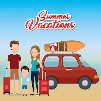 Famille dans la plage vacances d'été