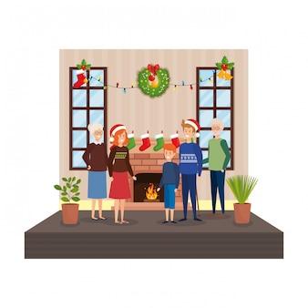 Famille dans le salon avec décoration de noël