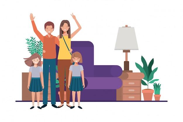 Famille dans le salon personnage avatar