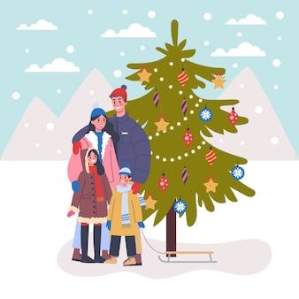 Famille debout dans la rue à l'arbre de noël. décoration de vacances traditionnelle. gens heureux. illustration avec style