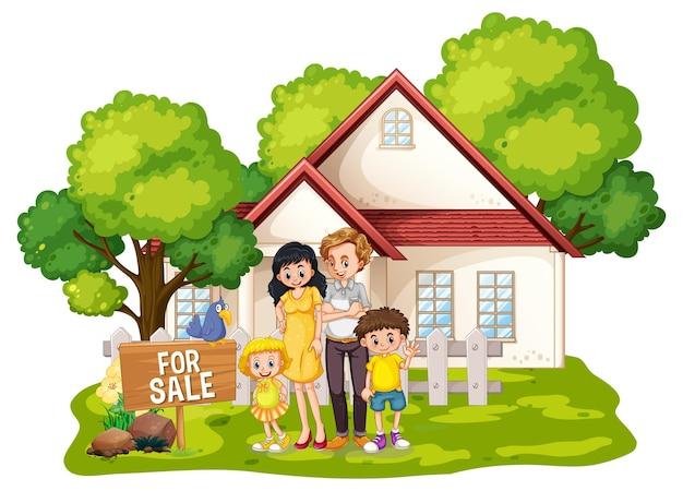 Famille debout devant une maison à vendre sur blanc