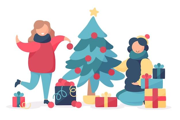 Famille, décoration, arbre noël