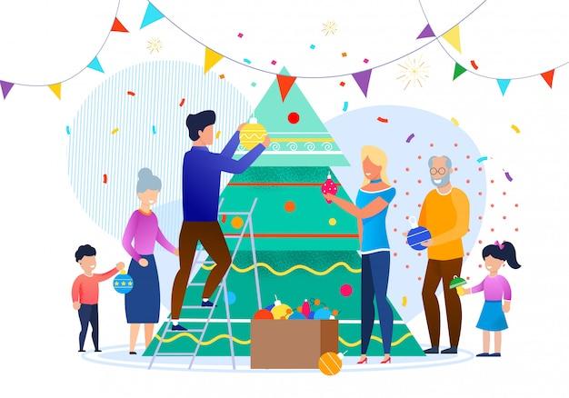 Famille, décoration, noël, arbre, illustration