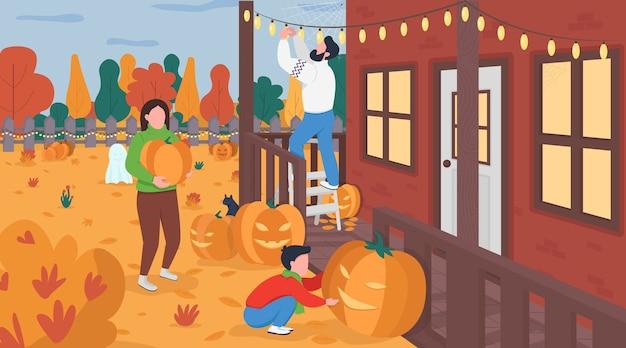 Famille décorer pour halloween illustration couleur plate