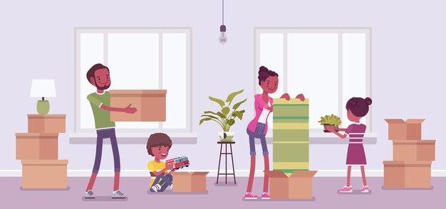 La famille déménage dans un nouvel appartement