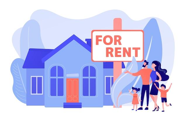 Famille déménageant à la campagne. l'agent immobilier montre la maison de ville. maison à louer, réservation en ligne, meilleure location, concept de services immobiliers. illustration isolée de bleu corail rose