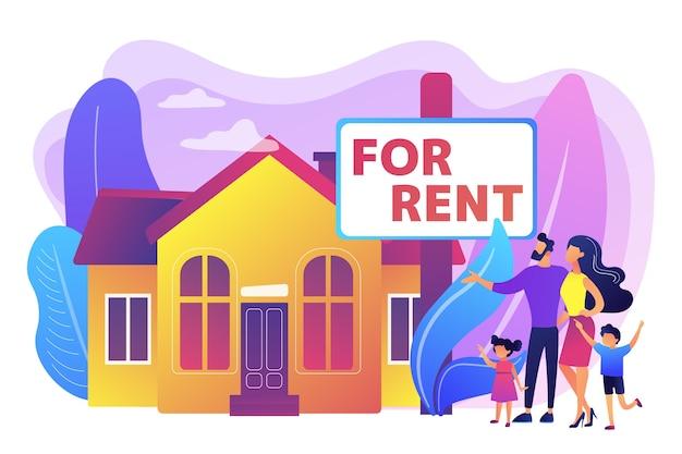 Famille déménageant à la campagne. l'agent immobilier montre la maison de ville. maison à louer, réservation en ligne, meilleure location, concept de services immobiliers. illustration isolée violette vibrante lumineuse