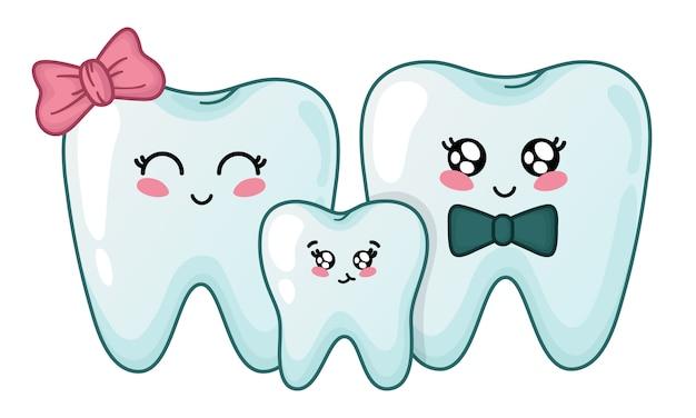 Famille de dents kawaii - personnages de dessins animés mignons