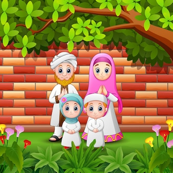 Famille de dessin animé heureux célébrer eid mubarak