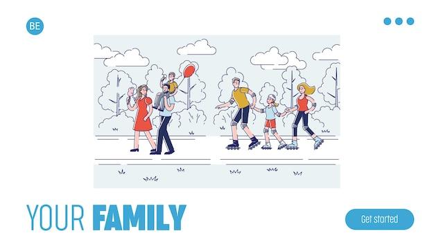Famille de dessin animé heureux passer du temps ensemble conception de page de destination linéaire modèle