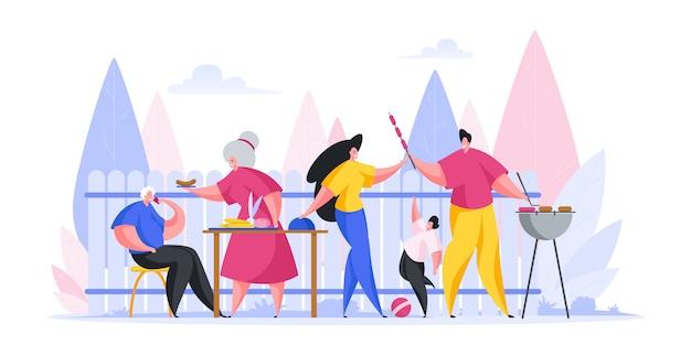Famille de dessin animé multi-génération ayant pique-nique barbecue