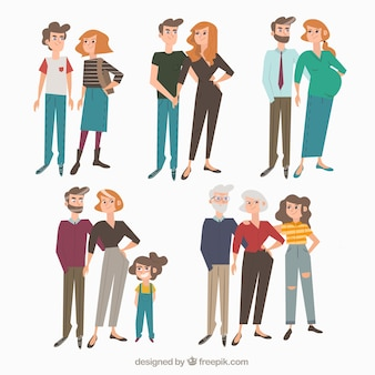 Famille dessiné à la main dans différentes étapes de la vie