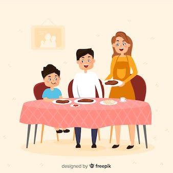 Famille dessiné à la main autour de la table