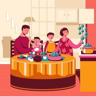 Famille dessiné à la main, manger des zongzi