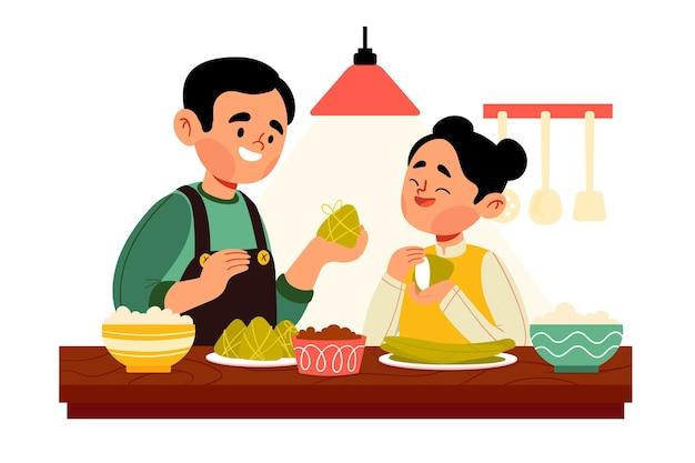 Famille dessiné à la main préparant zongzi