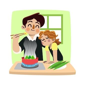 Famille dessiné à la main préparer et manger des zongzi
