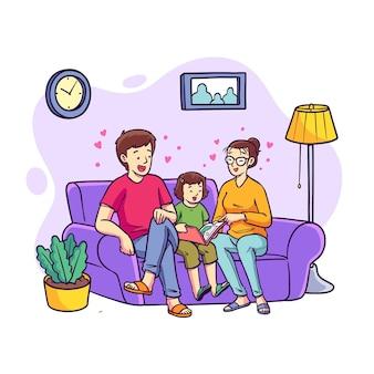 Famille dessinée à la main sur l'illustration du canapé