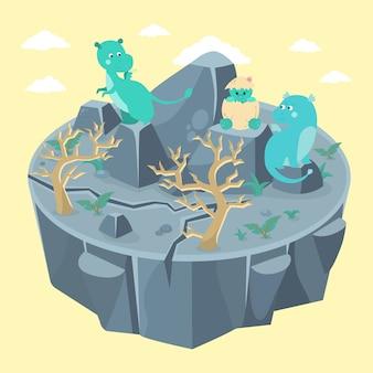 Famille de dragon heureuse. mère, père et bébé juste éclos.