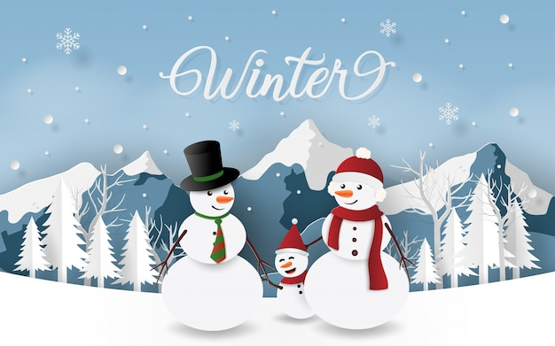 La famille du bonhomme de neige au jour de noël, saison d'hiver