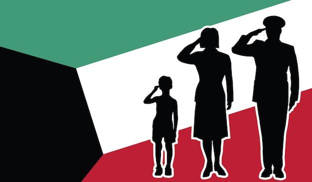 La famille du soldat du koweït salue l'arrière-plan patriote